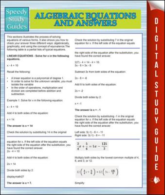 Algebraic Equations And Answers (Speedy Study Guides) by Speedy Publishing