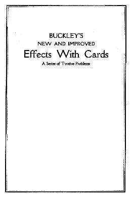 Effects with Cards 1 by Arthur Buckley