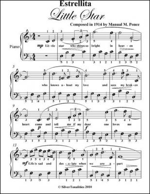 Estrellita Little Star Easy Piano Sheet Music by Manuel M. Ponce