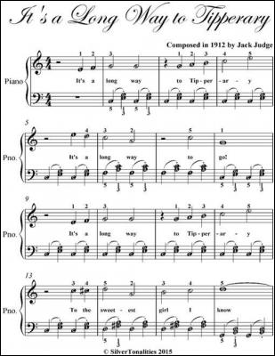 It's a Long Way to Tipperary Easiest Piano Sheet Music by Jack Judge