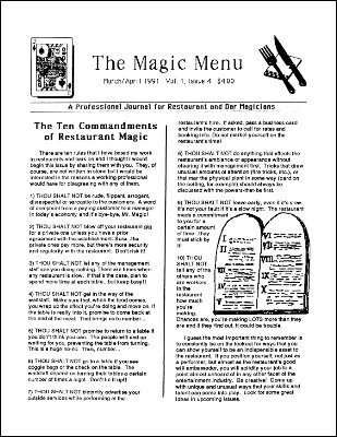 Magic Menu volume 1, number 4 by Jim Sisti