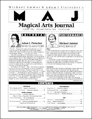 Magical Arts Journal Volume 1 Issue 1 by Michael Ammar & Adam J. Fleischer