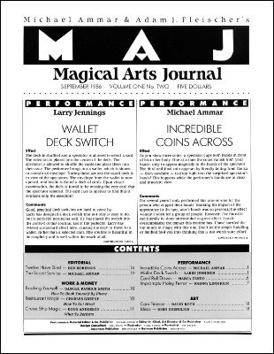 Magical Arts Journal Volume 1 Issue 2 by Michael Ammar & Adam J. Fleischer