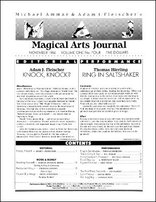 Magical Arts Journal Volume 1 Issue 4 by Michael Ammar & Adam J. Fleischer