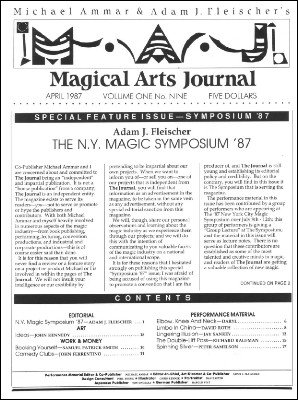 Magical Arts Journal Volume 1 Issue 9 by Michael Ammar & Adam J. Fleischer