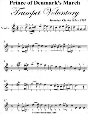 Prince of Denmark's March Trumpet Voluntary Easy Violin Sheet Music by Jeremiah Clarke