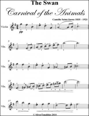 Swan Carnival of the Animals Easy Violin Sheet Music by Camille Saint Saens