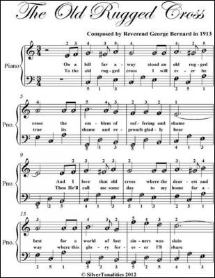 The Old Rugged Cross Easy Piano Sheet Music by Reverend George Bernard
